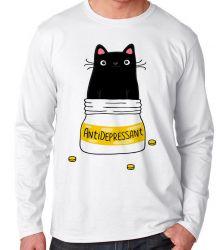 Camiseta Manga Longa gatinho antidepressivo