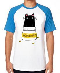 Camiseta Raglan Gatinho antidepressivo