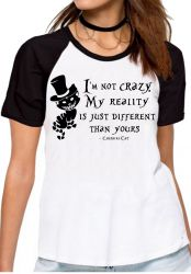 Blusa Feminina Gato de Cheshire I'm not crazy