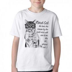 Camiseta Infantil Gato Nerd Mouse