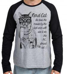 Camiseta Manga Longa Gato Nerd Mouse
