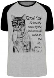 Camiseta Raglan Gato Nerd Mouse