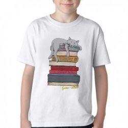 Camiseta Infantil Gato + leitura