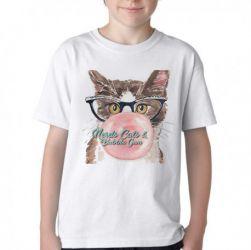 Camiseta Infantil Gatos bubble gum