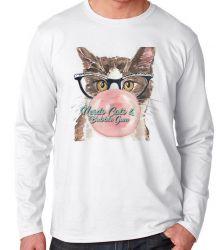 Camiseta Manga Longa Gatos bubble gum