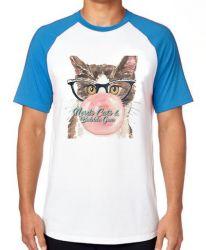 Camiseta Raglan Gatos bubble gum