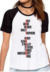 Blusa Feminina Grey's Anatomy nomes