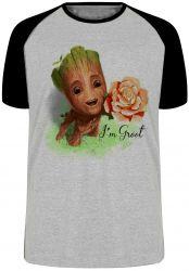 Camiseta Raglan Groot rosa