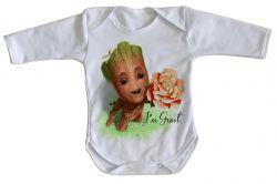 Roupa Bebê manga longa Groot rosa