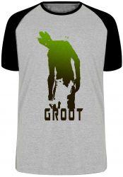 Camiseta Raglan Rocket Groot sombras