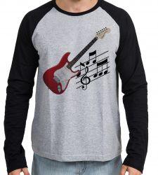 Camiseta Manga Longa Guitarra Instrumento