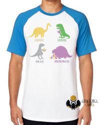Camiseta Raglan Dinossauro comilão