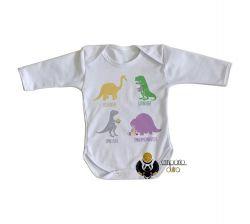 Roupa Bebê manga longa Dinossauro comilão