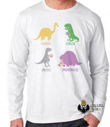 Camiseta Manga Longa Dinossauro comilão