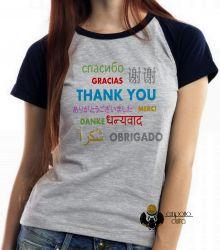 Blusa Feminina Obrigado em diferentes línguas
