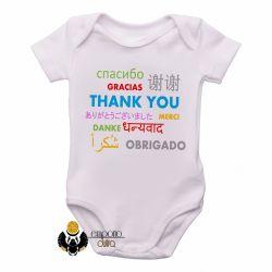Roupa  Bebê  Obrigado em diferente línguas
