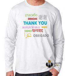 Camiseta Manga Longa Obrigado em diferente línguas