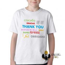 Camiseta Infantil Obrigado em diferentes línguas