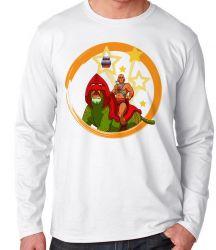Camiseta Manga Longa  He-Man e Gato Guerreiro