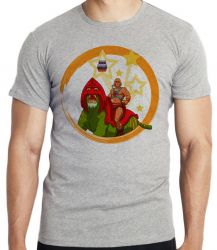 Camiseta Infantil  He-Man e Gato Guerreiro