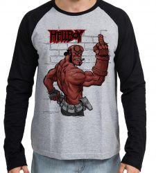 Camiseta Manga Longa HellBoy dedo