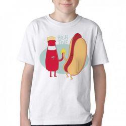 Camiseta Infantil Salsicha hot dog high five