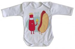 Roupa Bebê manga longa Salsicha hot dog high five