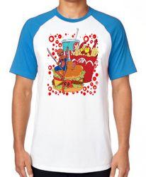 Camiseta Raglan fast food com super heróis