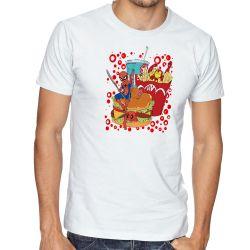 Camiseta  fast food com super heróis