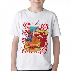 Camiseta Infantil fast food com super heróis