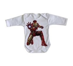 Roupa Bebê manga longa Homem de Ferro ataque