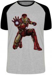 Camiseta Raglan Homem de Ferro ataque