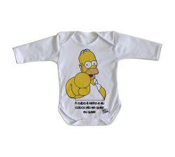 Roupa Bebê manga longa Homer Simpsons A culpa
