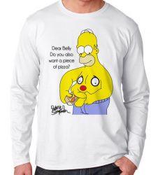 Camiseta Manga Longa Homer Simpsons pizza barriga