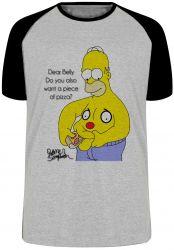 Camiseta Raglan Homer Simpsons pizza barriga