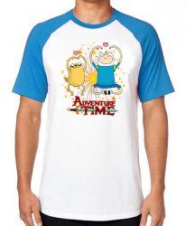 Camiseta Raglan Adventure Time Jake Finn corações