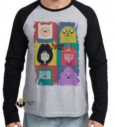 Camiseta Manga Longa  Adventure Time moldura