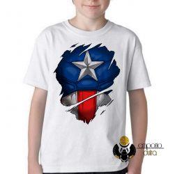 Camiseta Infantil   Capitão América  disfarce