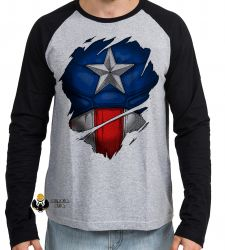 Camiseta Manga Longa  Capitão América  disfarce