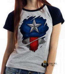 Blusa Feminina Capitão América disfarce