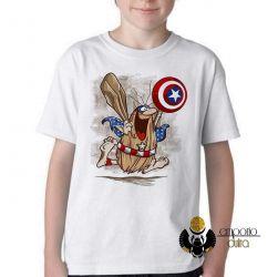 Camiseta Infantil   Capitão Cavérica  escudo