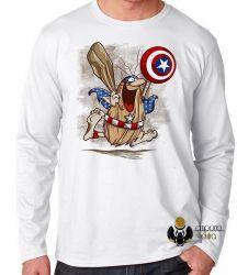 Camiseta Manga Longa  Capitão Cavérica escudo