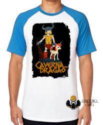 Camiseta Raglan Dungeons e Dragons caverna do dragão Hank Uni