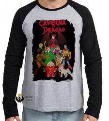Camiseta Manga Longa Dungeons e Dragons caverna do dragão todos