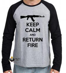 Camiseta Manga Longa Keep Calm Return Fire