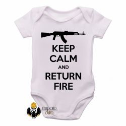 Roupa Bebê Keep Calm Return Fire
