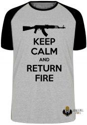 Camiseta Raglan Keep Calm Return Fire
