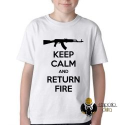Camiseta Infantil Keep Calm Return Fire