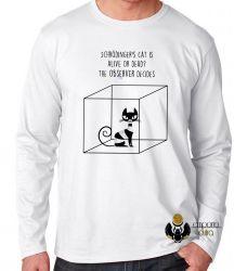 Camiseta Manga Longa Gato de Schrödinger