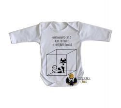 Roupa Bebê manga longa Gato de Schrödinger